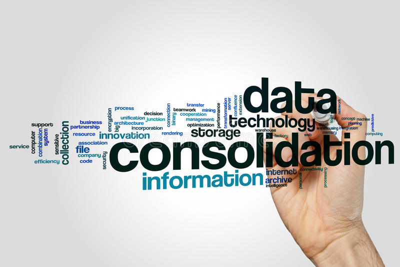 Концепция облака слова консолидации данных на серой предпосылке стоковое фото