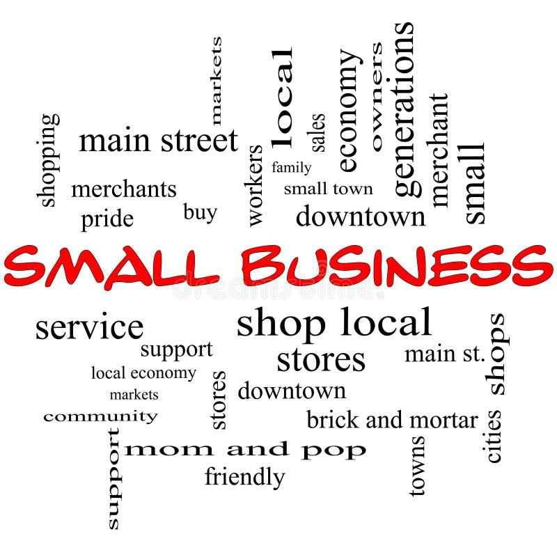Концепция облака слова мелкого бизнеса в красных крышках иллюстрация штока