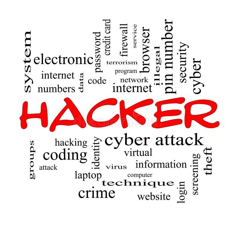 Концепция облака слова хакера в красных крышках бесплатная иллюстрация