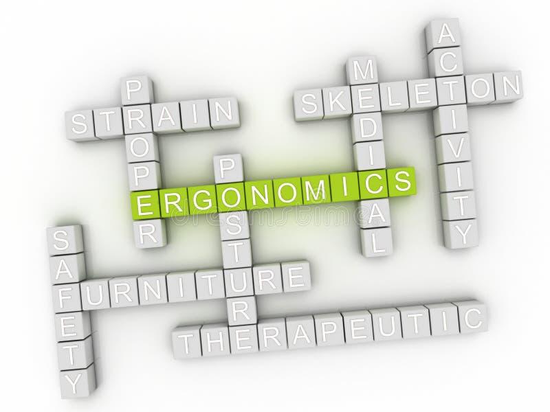 концепция облака слова эргономики 3d бесплатная иллюстрация