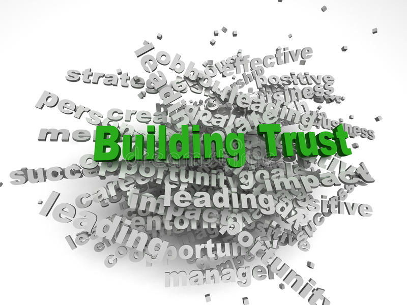 концепция доверия здания imagen 3d в облаке бирки слова на задней части белизны иллюстрация вектора