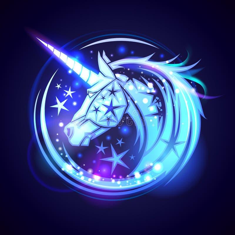 Концепция логотипа единорога головная, с звездами и неоновым накалять иллюстрация штока