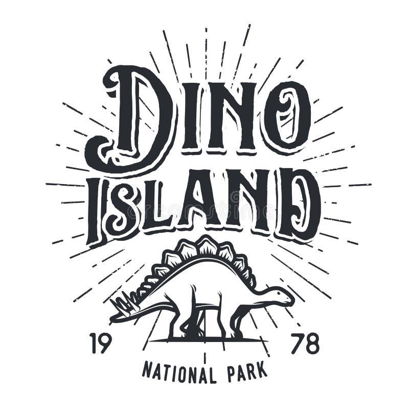 Концепция логотипа острова динозавра вектора иллюстрация штока