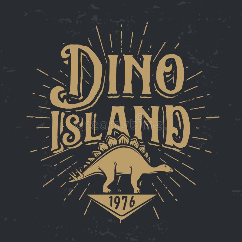 Концепция логотипа острова dino вектора Дизайн insignia национального парка стегозавра бесплатная иллюстрация