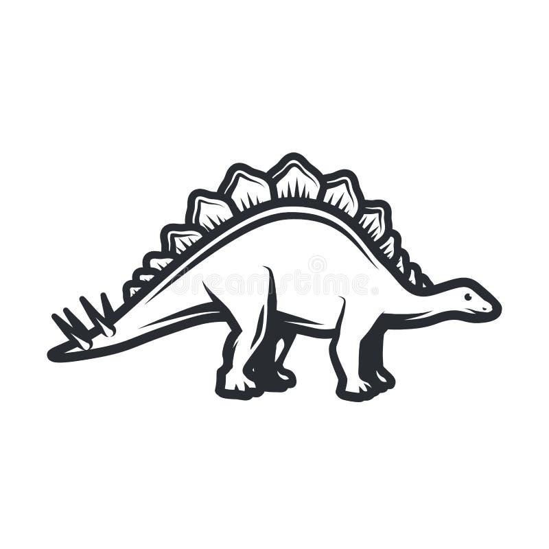 Концепция логотипа dino вектора Дизайн insignia стегозавра Юрская иллюстрация динозавра Концепция футболки на белизне бесплатная иллюстрация