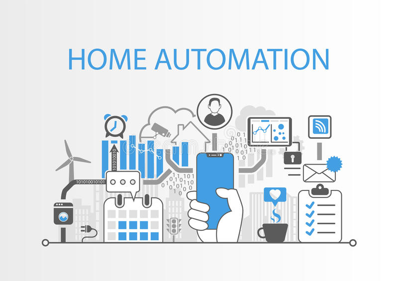 Концепция домашней автоматизации как иллюстрация с телефоном современного шатона свободным умным иллюстрация штока