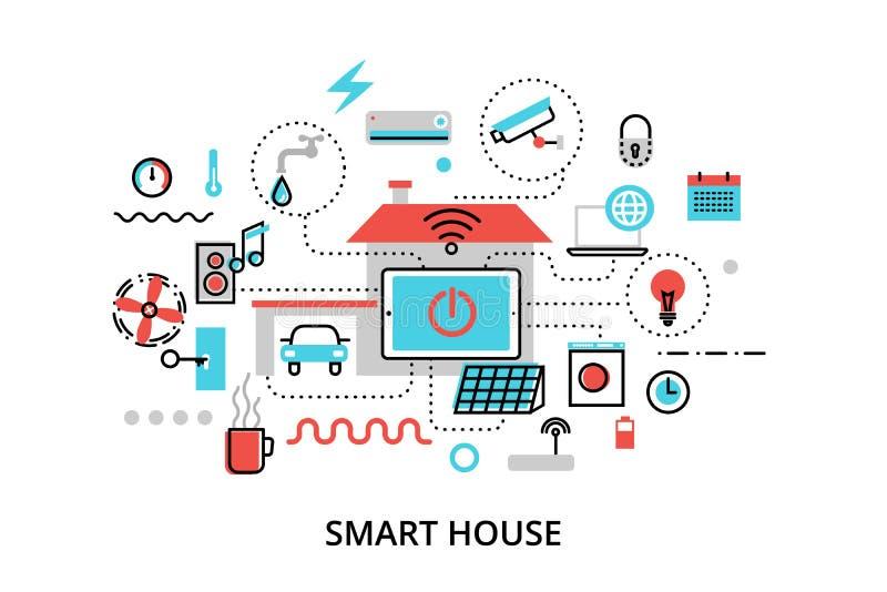 Концепция дома технологии умного с управлением иллюстрация вектора