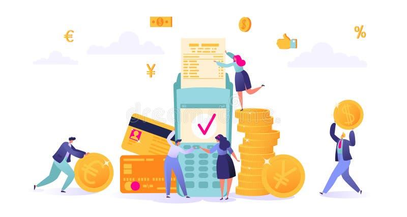 Концепция онлайн-банкингов, технологии сделки денег Тема дела и финансов Кредитная карточка и терминал оплаты иллюстрация вектора