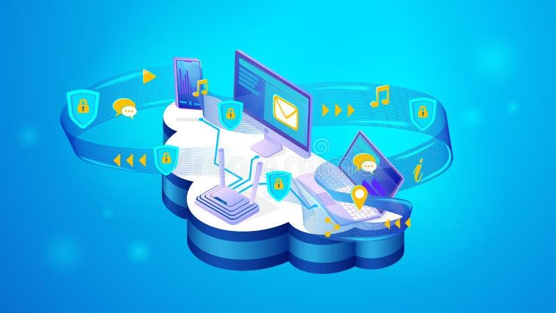 Концепция онлайн безопасности личных данных иллюстрация штока