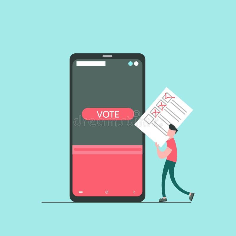 Концепция онлайн голосования иллюстрация штока