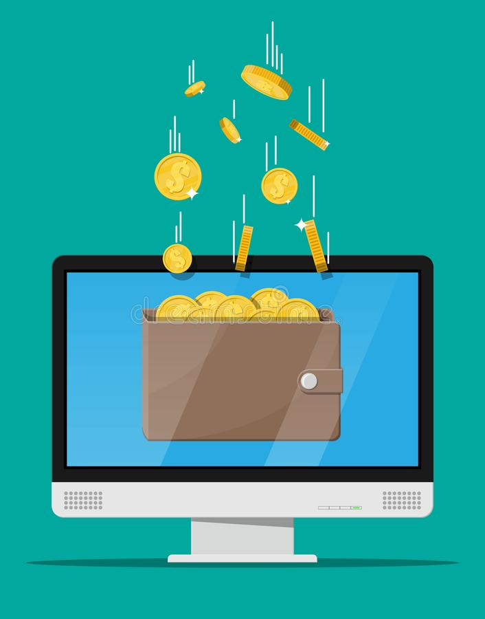 Концепция онлайн дохода иллюстрация вектора