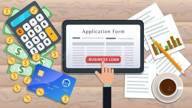 Концепция онлайн-займа или займа Ипотека дома Плоский планшетный планшет с бланком заявления на получение кредита и ручной кнопко иллюстрация вектора