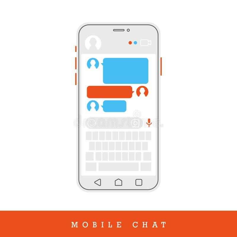 Концепция онлайн переговора с отправляя СМС сообщением беседуя телефон также вектор иллюстрации притяжки corel иллюстрация вектора