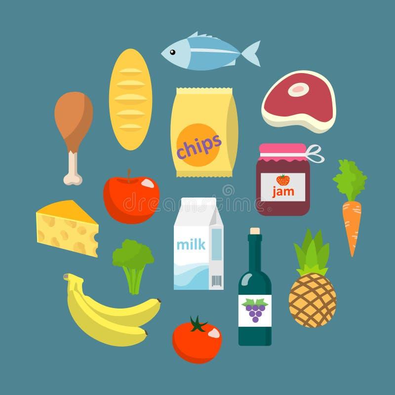 Концепция онлайн еды супермаркета плоская бесплатная иллюстрация
