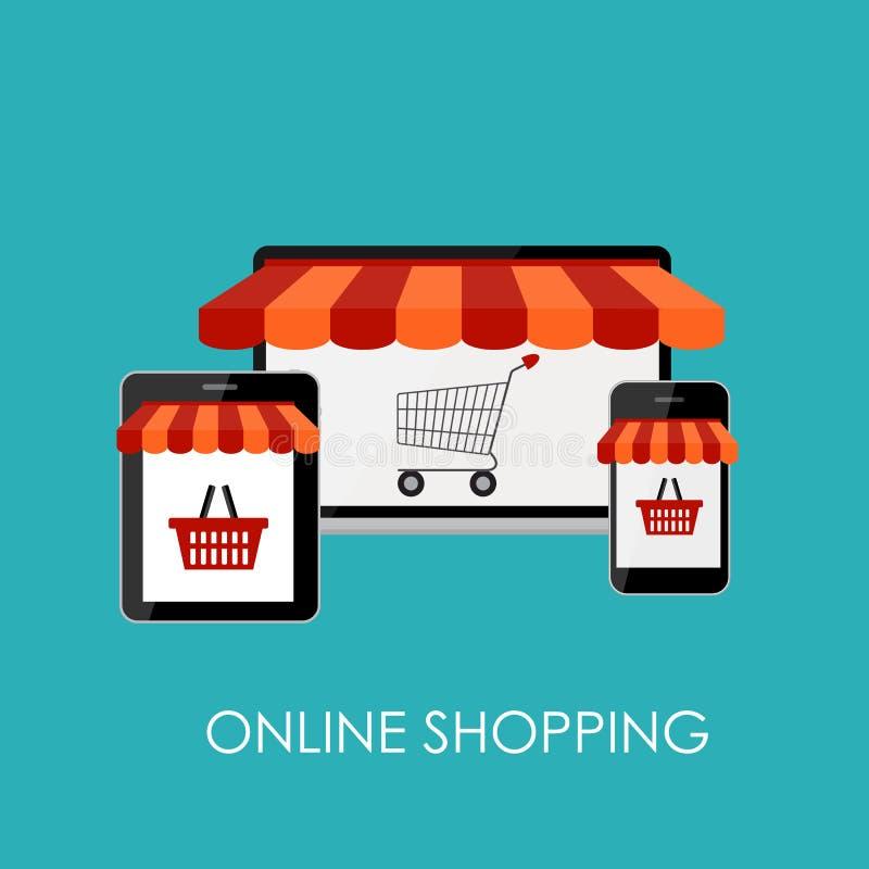 Концепция онлайн покупок плоская для передвижного Apps бесплатная иллюстрация