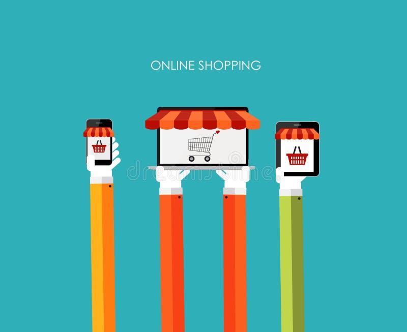 Концепция онлайн покупок плоская для передвижного Apps иллюстрация вектора