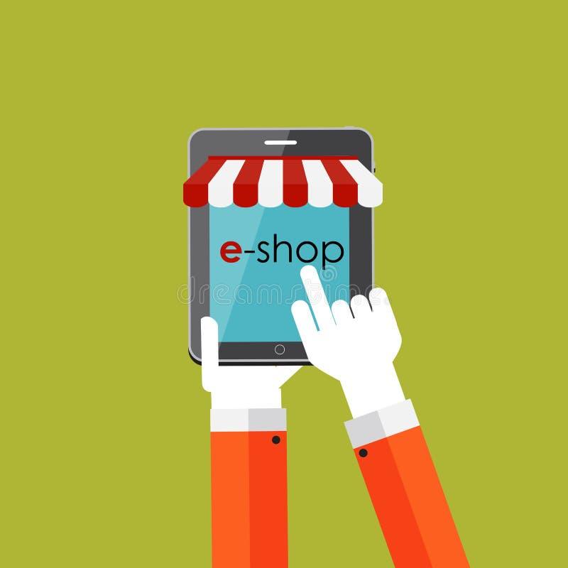 Концепция онлайн покупок плоская для передвижного Apps иллюстрация штока