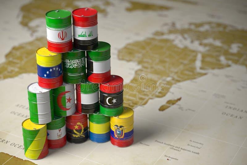 Концепция ОПЕК Масло несется цвет флагов memebers стран ОПЕК на предпосылке карты мира политической иллюстрация штока