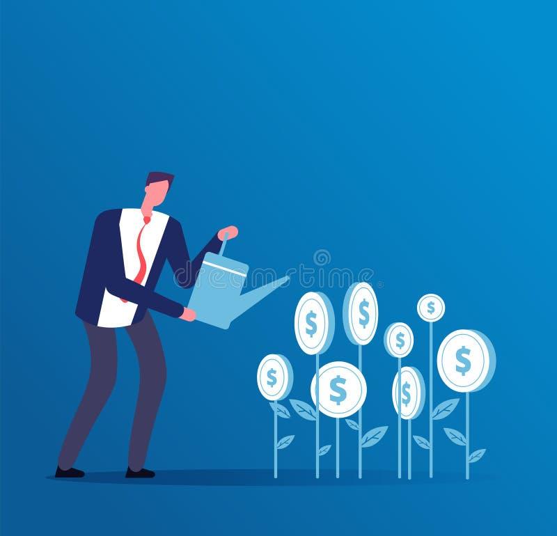 Концепция операций с ценными бумагами Счастливый инвестор растет вклады денег Предпосылка вектора финансов возможности для бизнес иллюстрация штока
