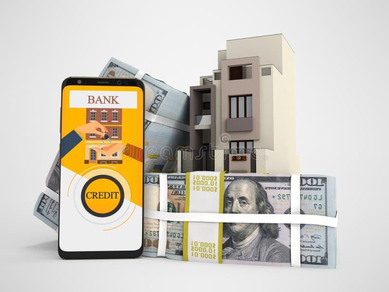 Концепция оплачивать заем в долларах для дома через смартфон 3d для того чтобы представить на серой предпосылке с тенью бесплатная иллюстрация