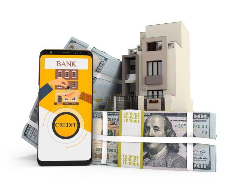 Концепция оплачивать заем в долларах для дома через смартфон 3d для того чтобы представить на белой предпосылке с тенью иллюстрация штока