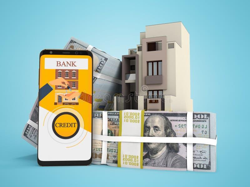 Концепция оплачивать заем в долларах для дома через смартфон 3d для того чтобы представить на голубой предпосылке с тенью бесплатная иллюстрация