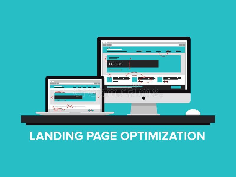 Концепция оптимизирования страницы посадки бесплатная иллюстрация