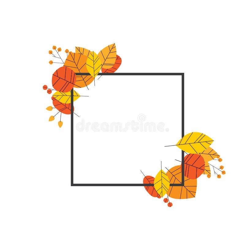 Концепция осени или вектора рамки падения с листьями в современном дизайне Сезонные украшение листвы или шаблон открытки с иллюстрация штока