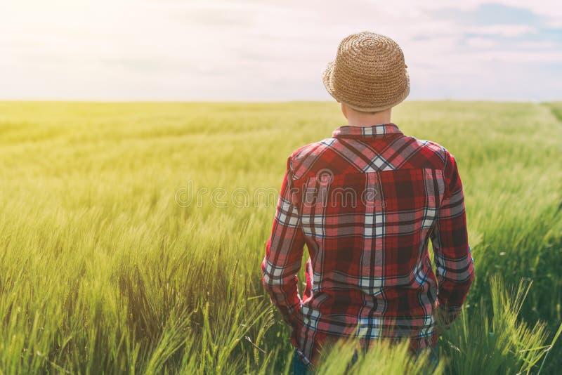 Концепция ответственный обрабатывать землю, женский фермер в хлопьях подрезывает fi стоковое изображение rf