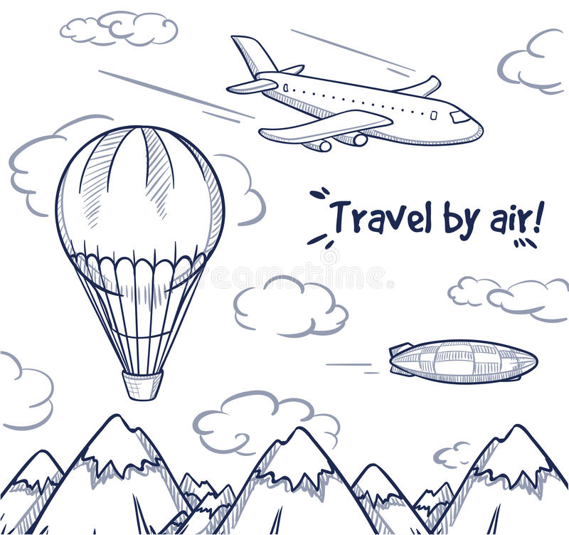 Концепция отключения воздуха Doodle иллюстрация вектора