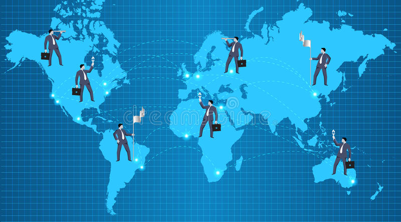Концепция отношений глобального бизнеса иллюстрация вектора