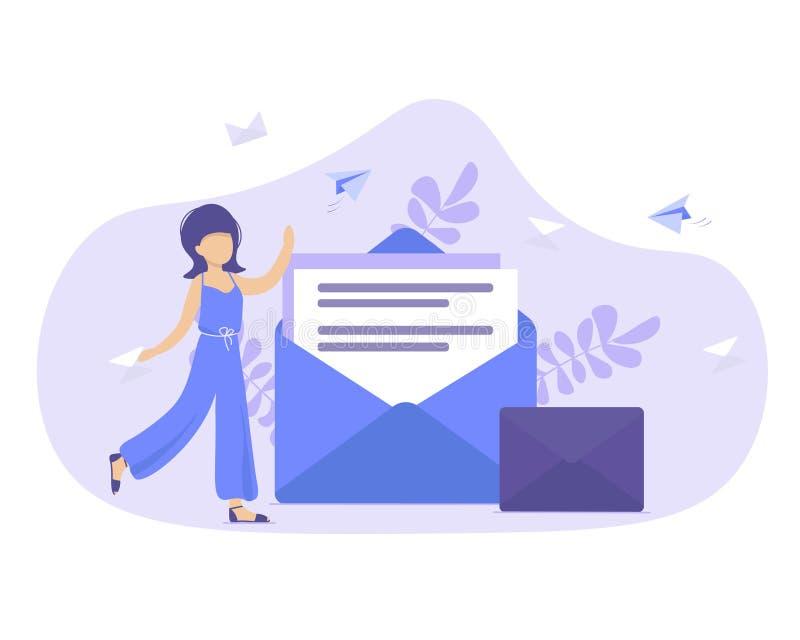 Концепция отправляя и получая сообщения почты иллюстрация штока