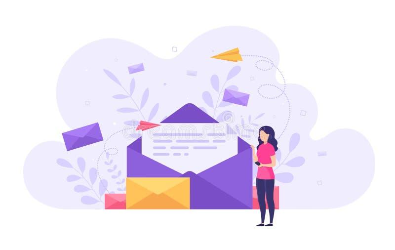 Концепция отправляя и получая сообщения почты, социальную сеть, болто иллюстрация штока