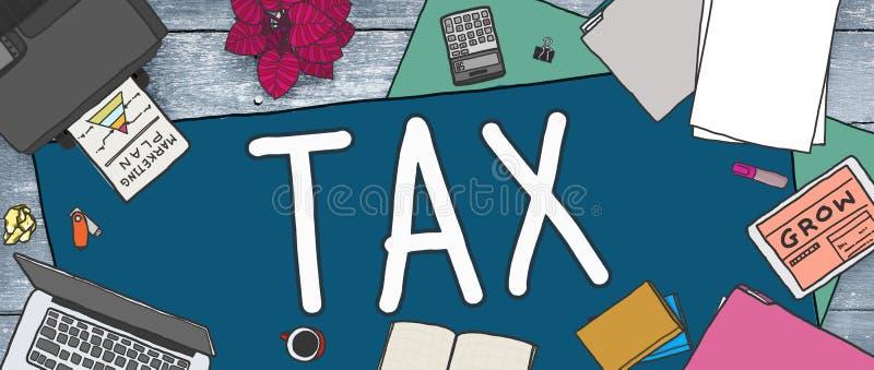 Концепция дохода освобождения возвращения возмещения обложения налога иллюстрация штока