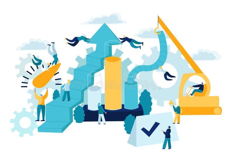 Концепция, оценка, оптимизирование, стратегия, контрольный списоок и измерение KPI Дело Indicatorsusing ключевой производительнос бесплатная иллюстрация