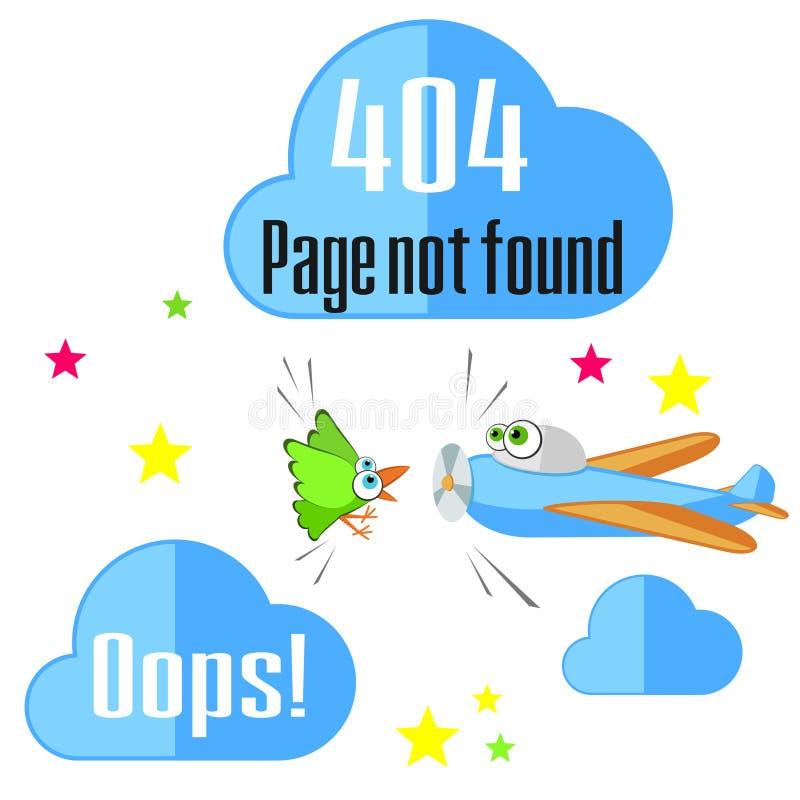 Концепция ошибки 404 с птицей и самолетом иллюстрация вектора