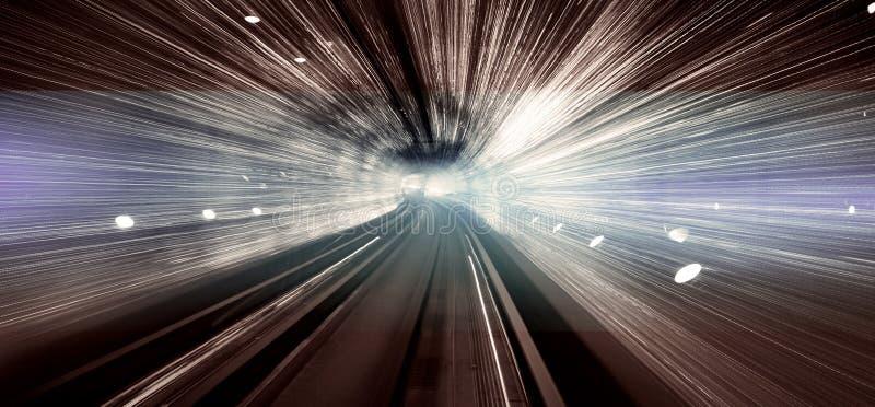 Концепция долгой выдержки тоннеля дисплея света Шанхая стоковое изображение
