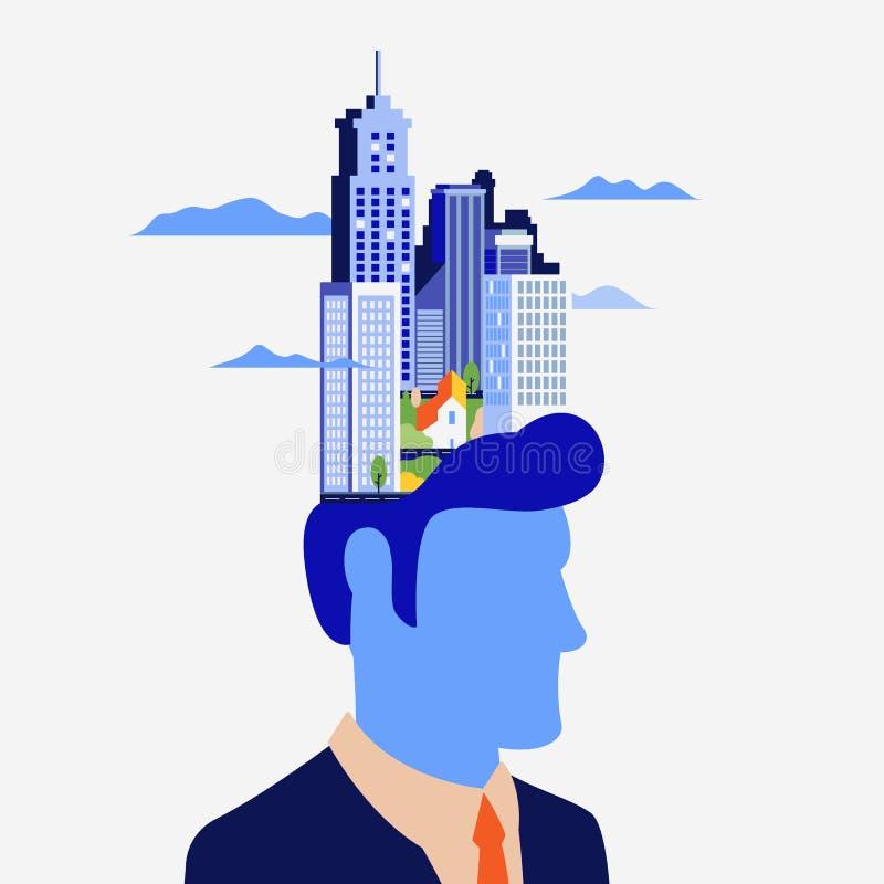 Концепция о процессах мысли о человека Создание идей в голове, творческая профессия Мир человека иллюстрация штока