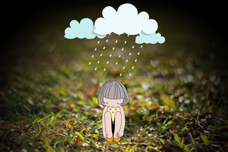 Концепция о тоскливости и депрессии иллюстрация штока