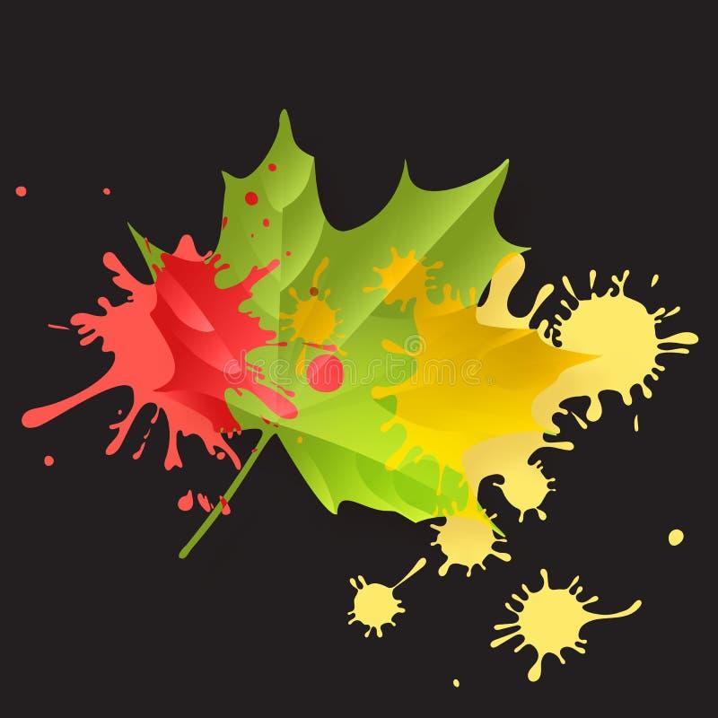Концепция падения осени Яркая акварель апельсина и красного цвета покрасила предпосылку вектора кленового листа осени сеть универ иллюстрация вектора