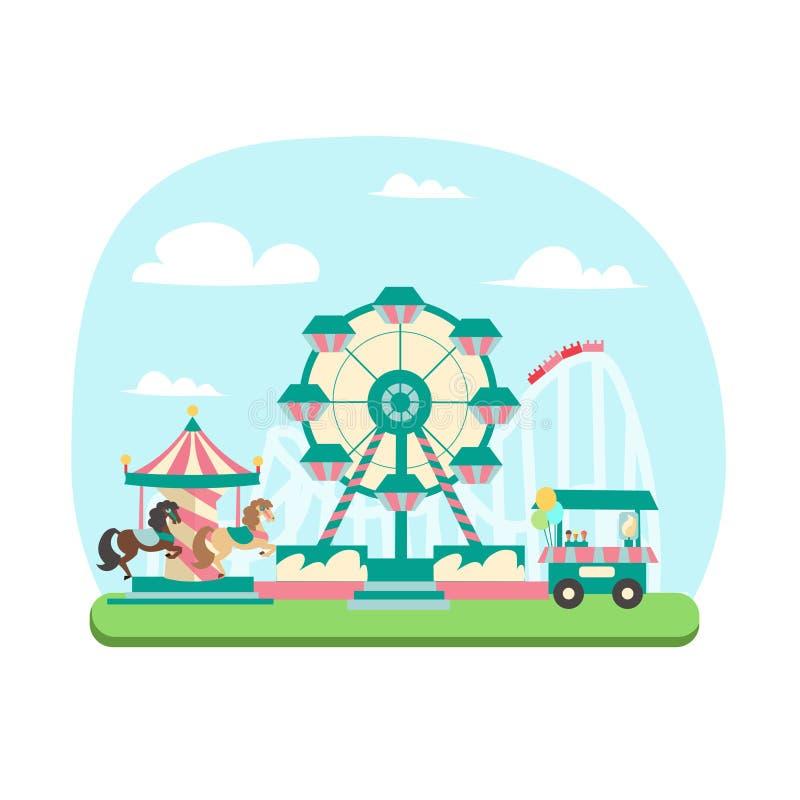 Концепция парка атракционов вектор бесплатная иллюстрация