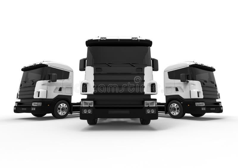 Концепция парка грузовых автомобилей на белизне бесплатная иллюстрация