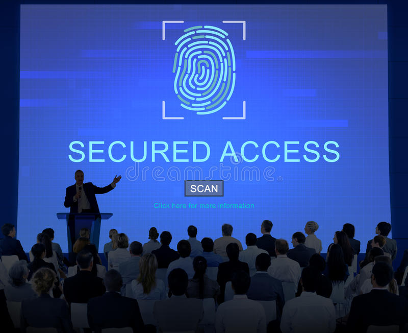 Концепция пароля отпечатка пальцев безопасностью технологии стоковое изображение