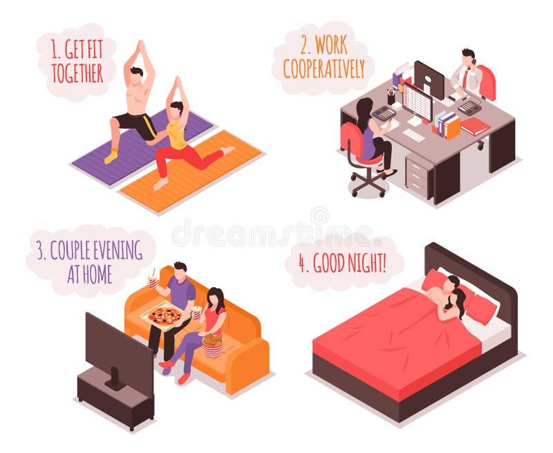 Концепция пар ежедневной жизни равновеликая иллюстрация вектора
