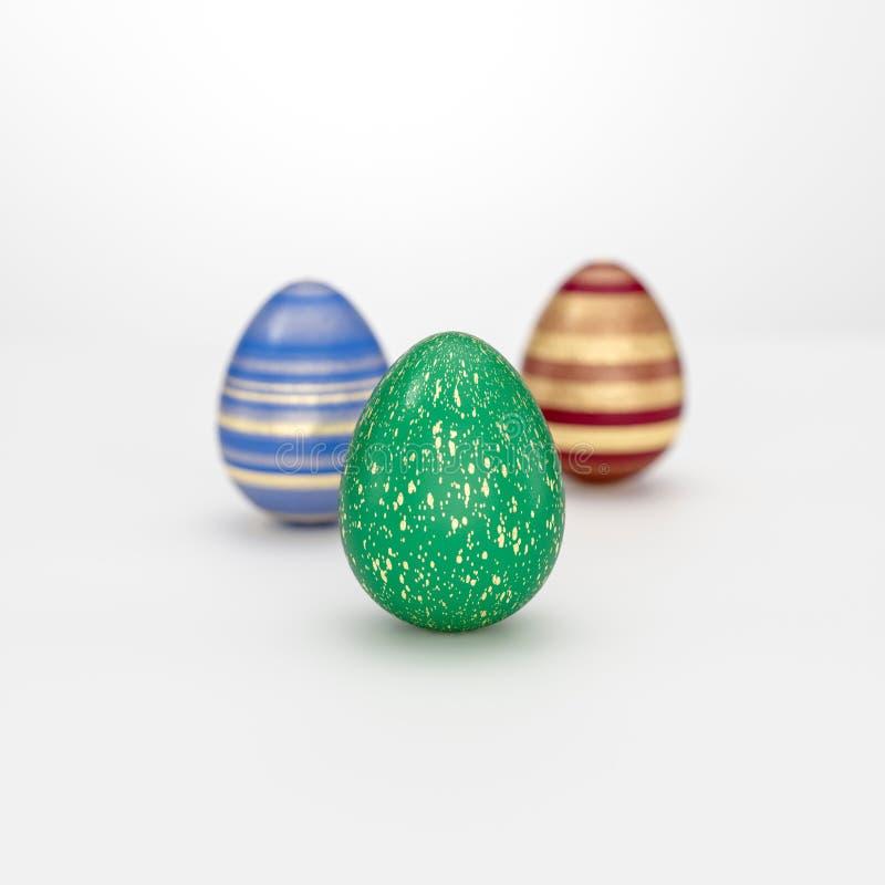 Концепция пасхального яйца 3 с striped золотым украшением бесплатная иллюстрация