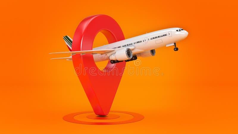 Концепция перемещения авиакомпании Указатель авиапорта Самолет и штырь изолированные на белизне иллюстрация вектора