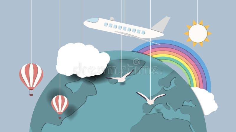 Концепция перемещения по всему миру самолетом и горячим воздушным шаром иллюстрация штока