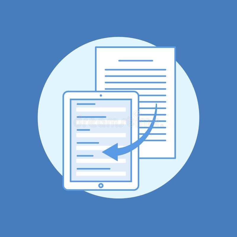 Концепция перенося информации от бумажных несущих к передвижным применениям Электронные документы плоская линия вектор иллюстрация вектора