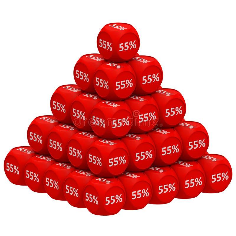 Концепция 55% пирамиды скидки иллюстрация вектора