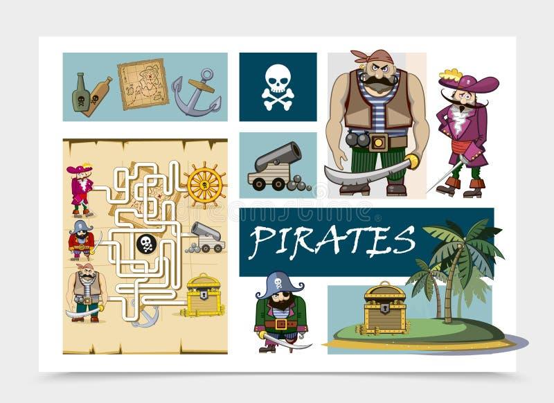Концепция пиратов моря мультфильма бесплатная иллюстрация